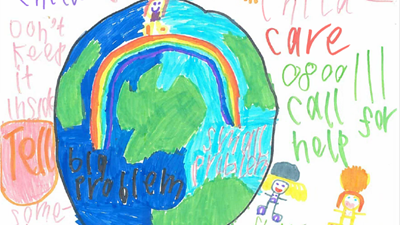 Art work from primary school children - Drawing of world and rainbow