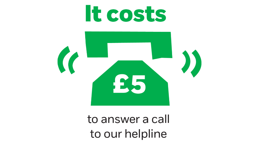 It costs £5 to answer a call to our helpline