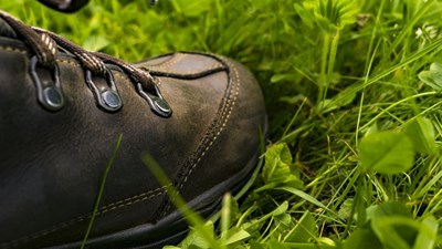 A leather walking boot on grass