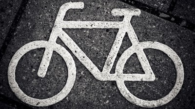 Close up of a road symbol of a bicycle
