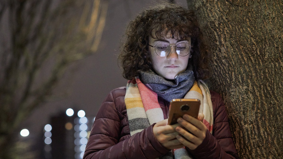 Girl looking at phone